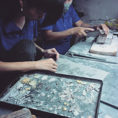 Very intricate artwork in MOP's (Mother of Pearl) at Handicapped Handicrafts.